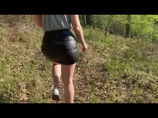 a walk in the woods in a leather skirt. Leather, fetish, bdsm, feemdom, fisting, porn, pissing, scat, sex, порно, фетиш, секс.
