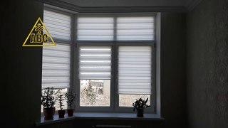 Рулонные шторы зебра мини с леской ткань Стандарт белая на французские окна | Портфолио АВС