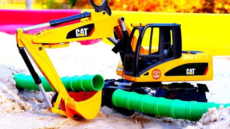 Vidéos de voitures pour garçons. L'excavateur repare le tuyau. Les panneaux routiers.