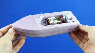 How to Make a Boat - Simple 9v Battery Foam Boat Mini Gear