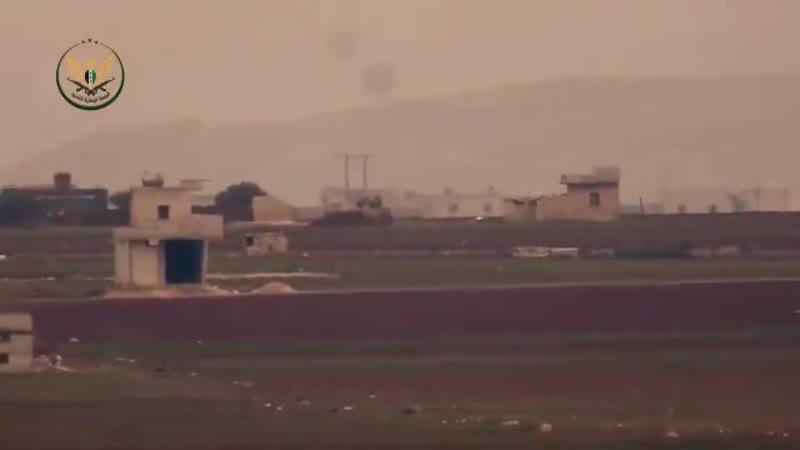 Сирия еще одна ПТРК выпущенная НЛФ уничтожила бронированный бульдозер возводящий бермы на фронте W Алеппо
