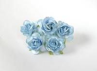 000024 Кудрявые розы 4 см Голубые  1 шт - 23 руб  диаметр 4 см высота 2 см длина стебля 7 см