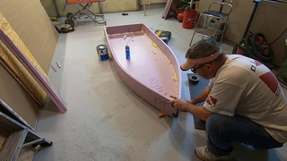 Building a foam and fabric fishing boat using a knife and duct tape light weight F2