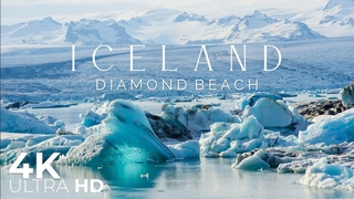 Iceland 4K • Diamond Beach & Nature soundscape with Calming Music • Relaxation Film
