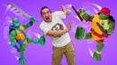 Крутые игры для мальчиков. Черепашки-ниндзя - атака с разворота! Видео про новые игрушки