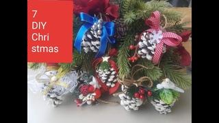 DIY 7 pine cone ideas for Christmas, идеи из шишки,ideas de piñas para Navidad,7 pomysłów na szyszki