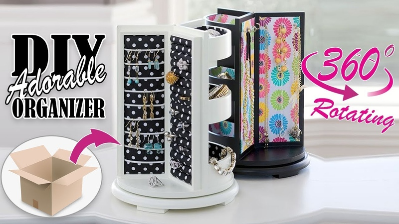 DIY ROTATING JEWELLERY ORGANIZER ADORABLE IDEA Cute Organizer Tutorial