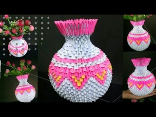 How To Make Paper Flower Vase ,3d Origami Vase | Diy Paper Vase | Made By Craft With Creativity.