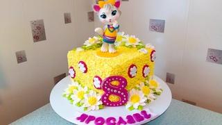 Тортик с ромашками и котёнком (крем БЗК). /Cake with chamomiles and a kitten