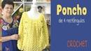 Poncho de 4 rectángulos tejido a crochet Tejiendo Perú