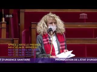 Martine WONNER Interventions projet de loi prorogation de l'état d'urgence sanitaire 20-01-2021 France Fr Covid 19