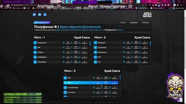 Apex eSports Snowbreak 10к Рублей полуфинал группа а комментируют для вас Urine Therapy Krey and с Pups Anarhistik NP1G on Twitch