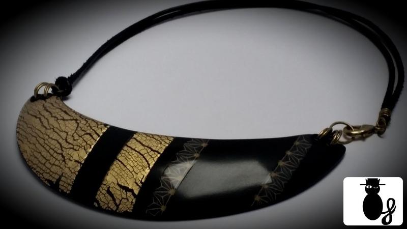 TUTO Plastron en noir et or craquelé or et silkscreen