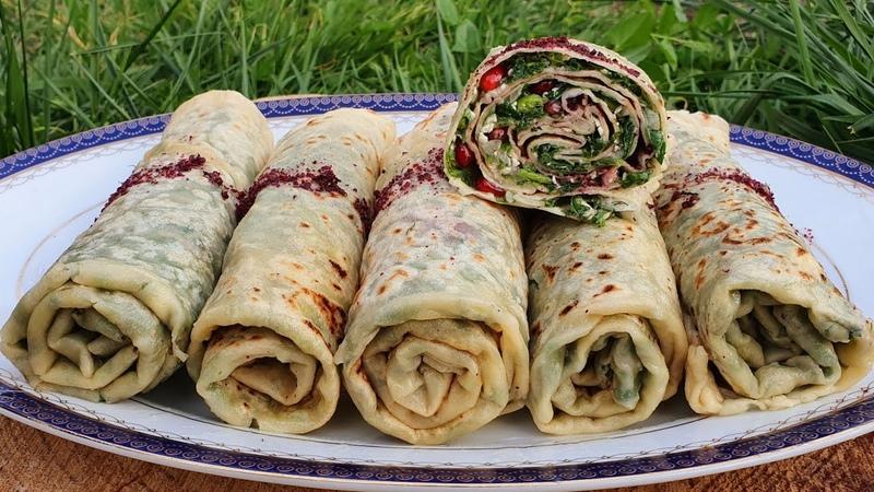 Gutab Azerbaijani Herb stuffed Flatbread Dadlı Göy Qutabının Kətə Hazırlanması ASMR Cooking