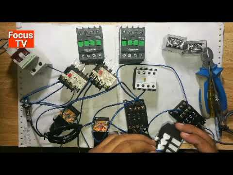 How to control wiring of auto forward and reverse three phase motor starter with proximity sensors
