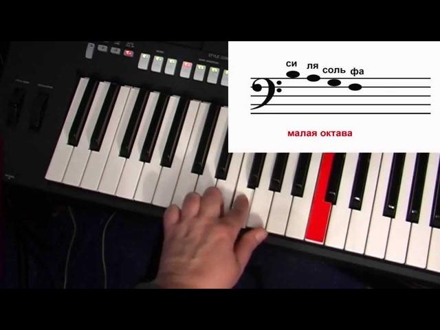 Самоучитель игры на синтезаторе. Урок 1. Нотная грамота высота звука. Играем по нотам.
