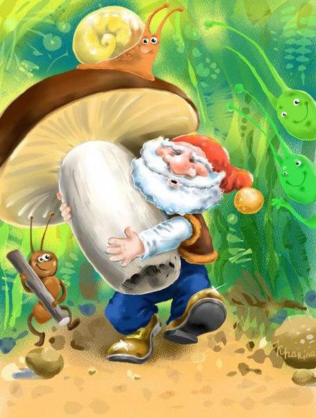 картинка гнома с грибами сорвал
