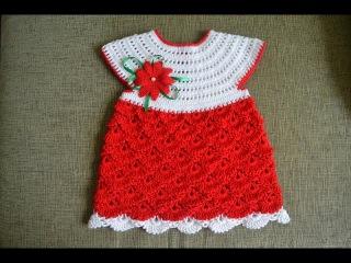 Детское ажурное платье крючком/Мастер класс для начинающих (Child fishnet dress crochet)