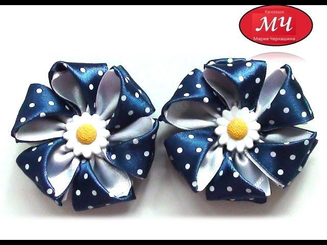 МК Резинки с цветами из атласной ленты Канзаши Цветы из лент DIY Ribbon flower