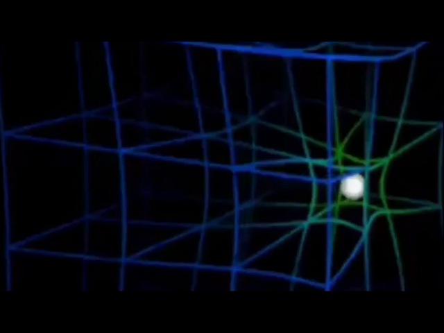 Симуляция искривления пространства времени под влиянием гравитации