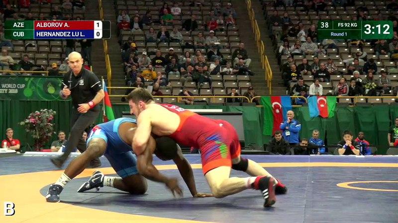 Round 1 FS - 92 kg: A. ALBOROV (AZE) v. L. HERNANDEZ LU (CUB)
