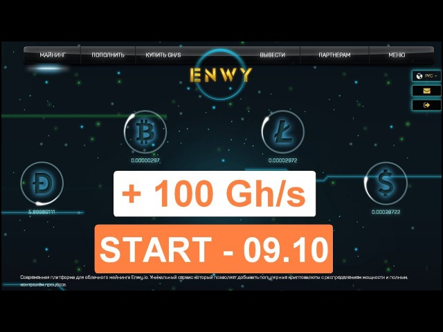 ENWY.IO – Подтверждение Вывод денег | Новый Псевдо Майнинг | Подарок 100 Ghs | Бонус для YOUTUBE