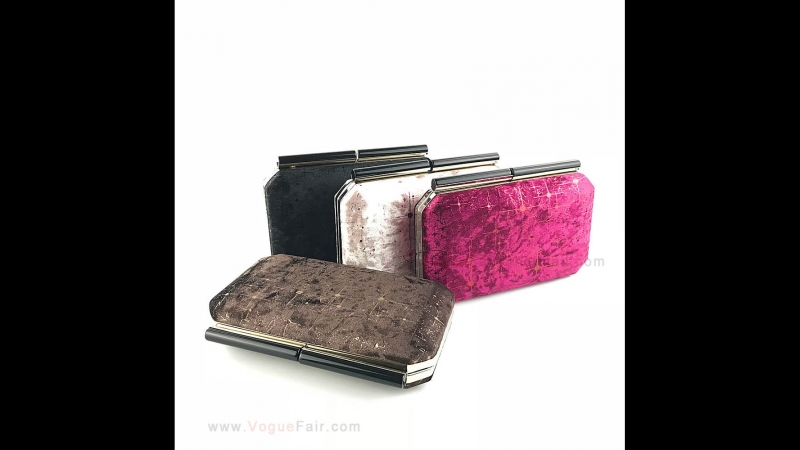 Vogue Fair Sleek Velvet Hardcase Clutch Evening Party Purse with Shimmering Trim