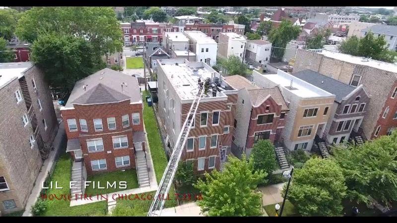CHICAGO HOUSE FIRE CAPTURED W/ DJI PHANTOM 4 DRONE 7.23.16 @LiLeFilms