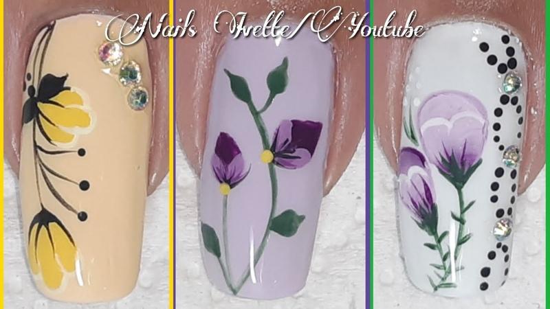 3 diseños de uñas tulipanes/decoración de uñas flores tulipanes