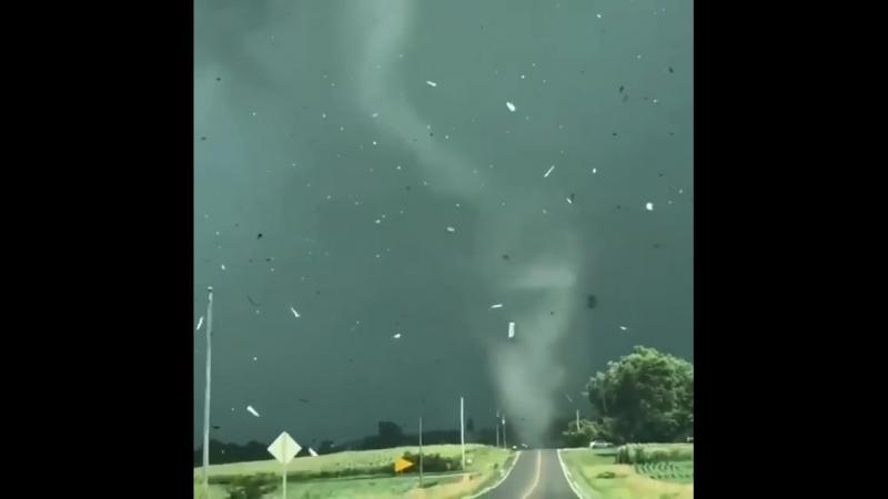 Торнадо переходит дорогу у города Маршалтаун, Айова, США. (19 Июля 2018)