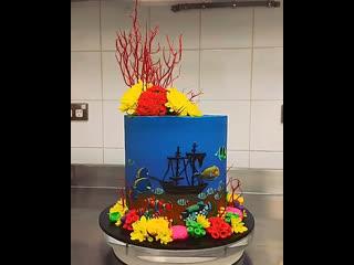 """Торт """"корабль в океане у большого барьерного рифа"""". / наша группа в  """"ultracakes""""."""