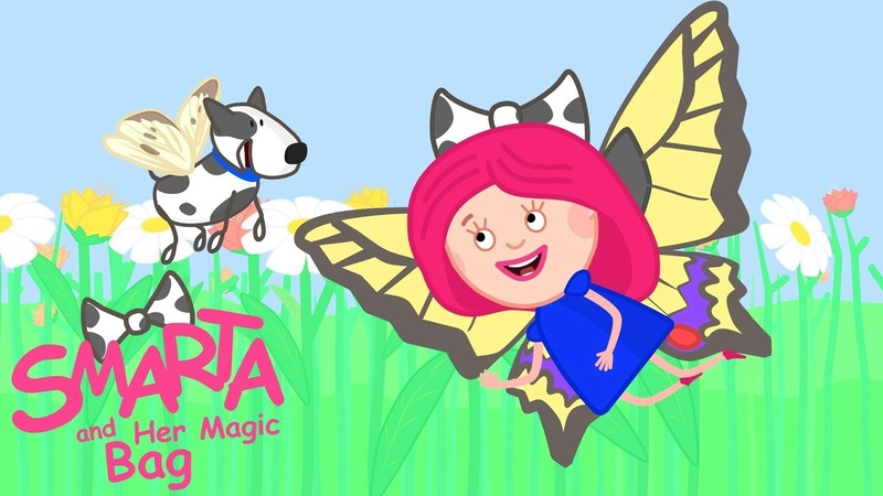 Kids Paint Butterfly Wings: Smarta and her Magic Bag - Learn Colors in Spanish