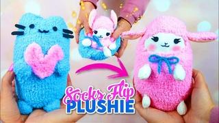 DIY VIRAL REVERSIBLE PLUSHIE WITH SOCKS!! Pusheen cat & kawaii sheep  - Cute Budget Xmas Gift Ideas