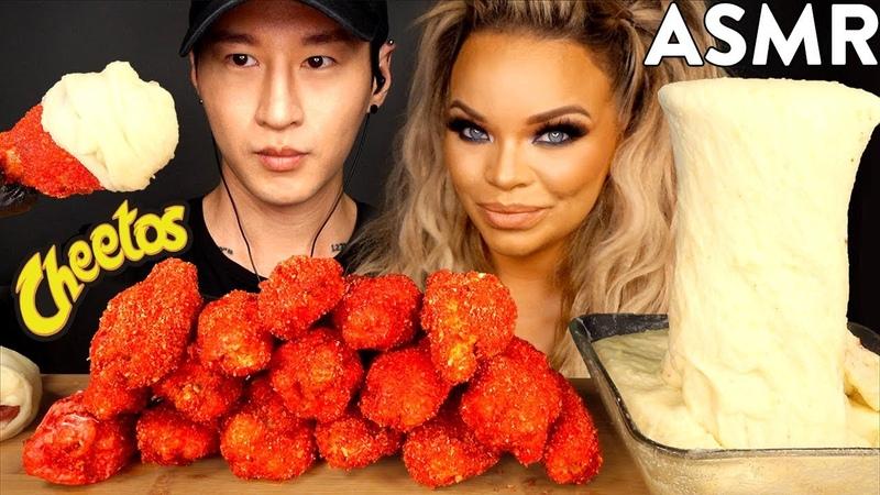 ASMR HOT CHEETOS CHICKEN WINGS STRETCHY CHEESE with TRISHA PAYTAS (No Talking) MUKBANG   Zach Choi
