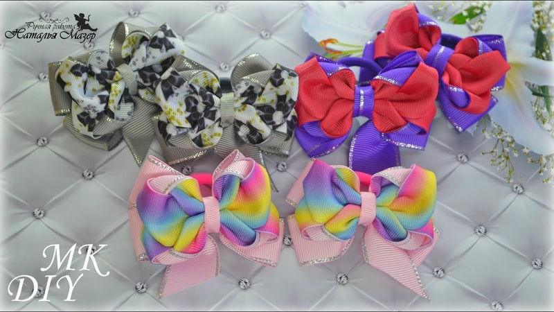 Маленькие бантики из репсовых лент для принцесс МК КАНЗАШИ DIY KANZASHI Hair Bows Laços de fita