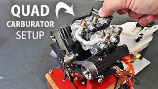 Quadruple Carburetor Setup on the V4 RC Engine!