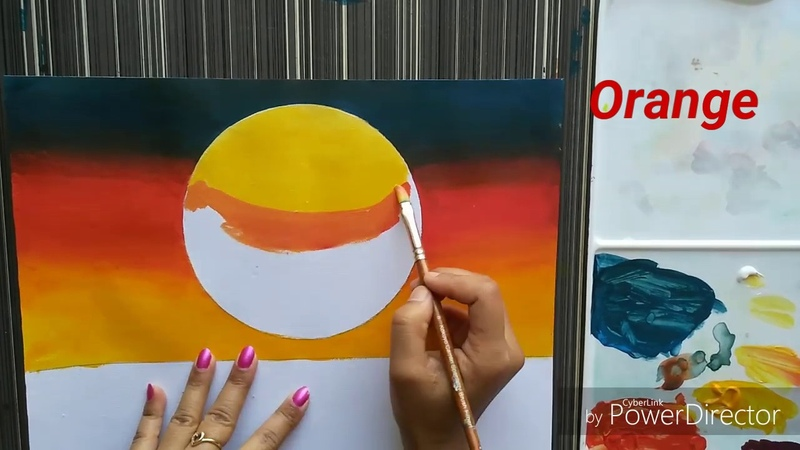 Easy Sunset Acrylic painting for beginners   Coconut Tree in sunset    Lagoon sunset Painting   