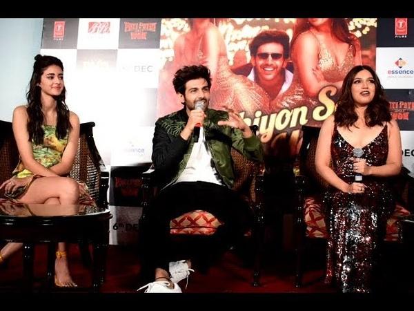 Pati Patni aur Woh Star cast interacts with media at Song launch Kartik Aryan