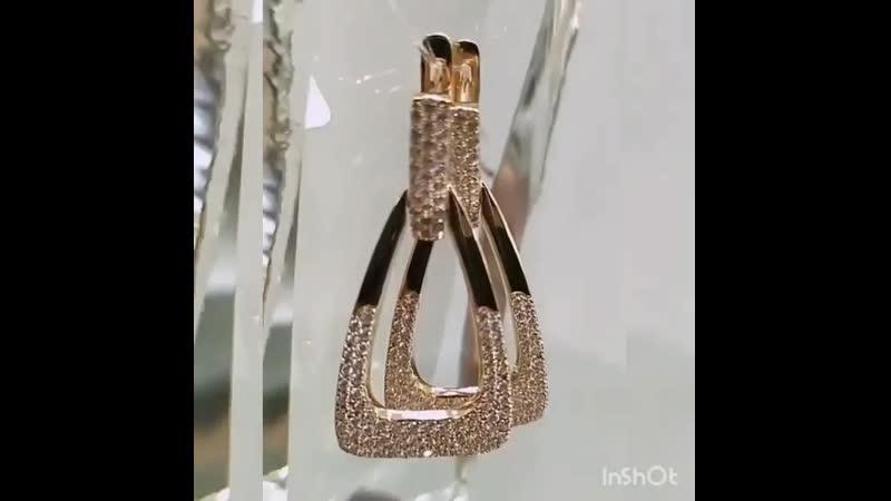 💍 НОВИНКА💞 На видео: 💎Серьги,красное золото 585 ° 💎Вставки:Фианит белый. 💎Общая масса изделия 6.03 гр 💎Цена: 21008 руб