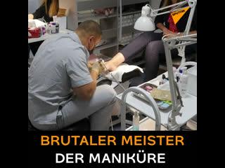 Brutaler meister der maniküre und pediküre