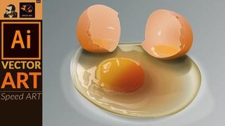 Drawing Broken Egg in Adobe Illustrator CC  | Speed Art