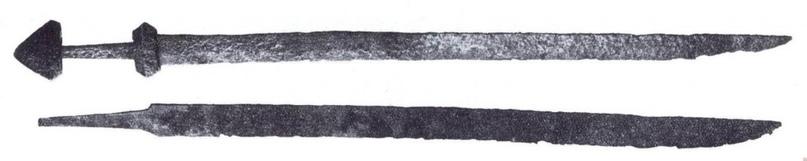 Мечи викингов с односторонним лезвием. Редко встречаются в погребениях