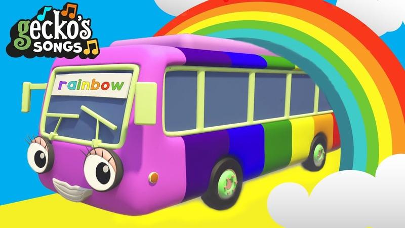 5 Rainbow Buses Song * Brand New * Nursery Rhymes Kids Songs Gecko's Garage Bus Songs For Kids