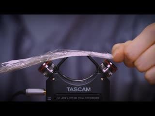 [囁き声-ASMR] 色々な物でマイクを触る / 耳を塞ぐ / TASCAM DR-40X