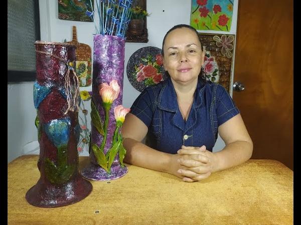 Cómo hacer un jarrón con cartón y tulipanes con porcelana fría inspiradorasdearte