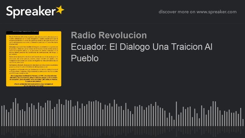 Ecuador El Dialogo Una Traicion Al Pueblo