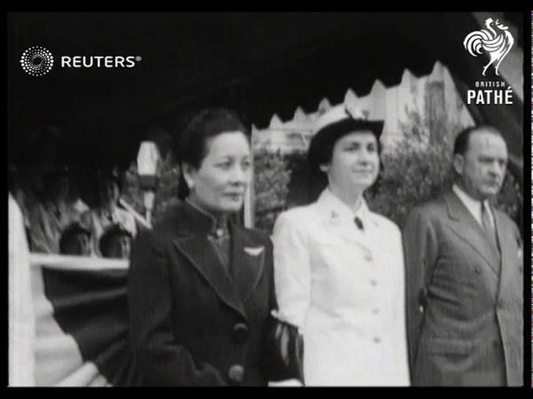 USA DEFENCE Madame Chiang Kai Shek reviews women's services 1943