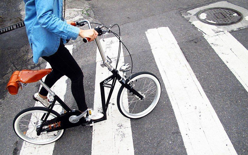 the 'sliders' foldable bike blends the concepts of a kick scooter and a bicycle to create a ride uniquely suited to the fast-slow urban environment.