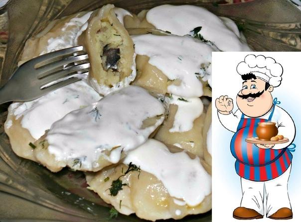 Вареники с картошкой и грибами,из заварного теста.Очень вкусно.