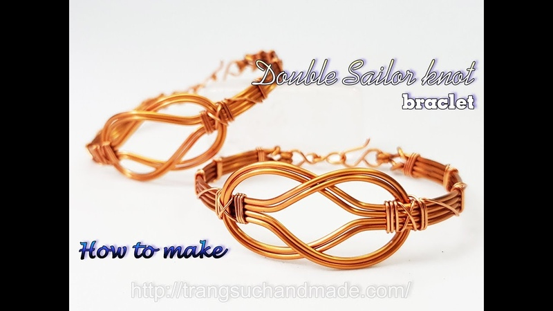 Double Sailor knot bangle How to make unisex wire jewelry from copper wire 468
